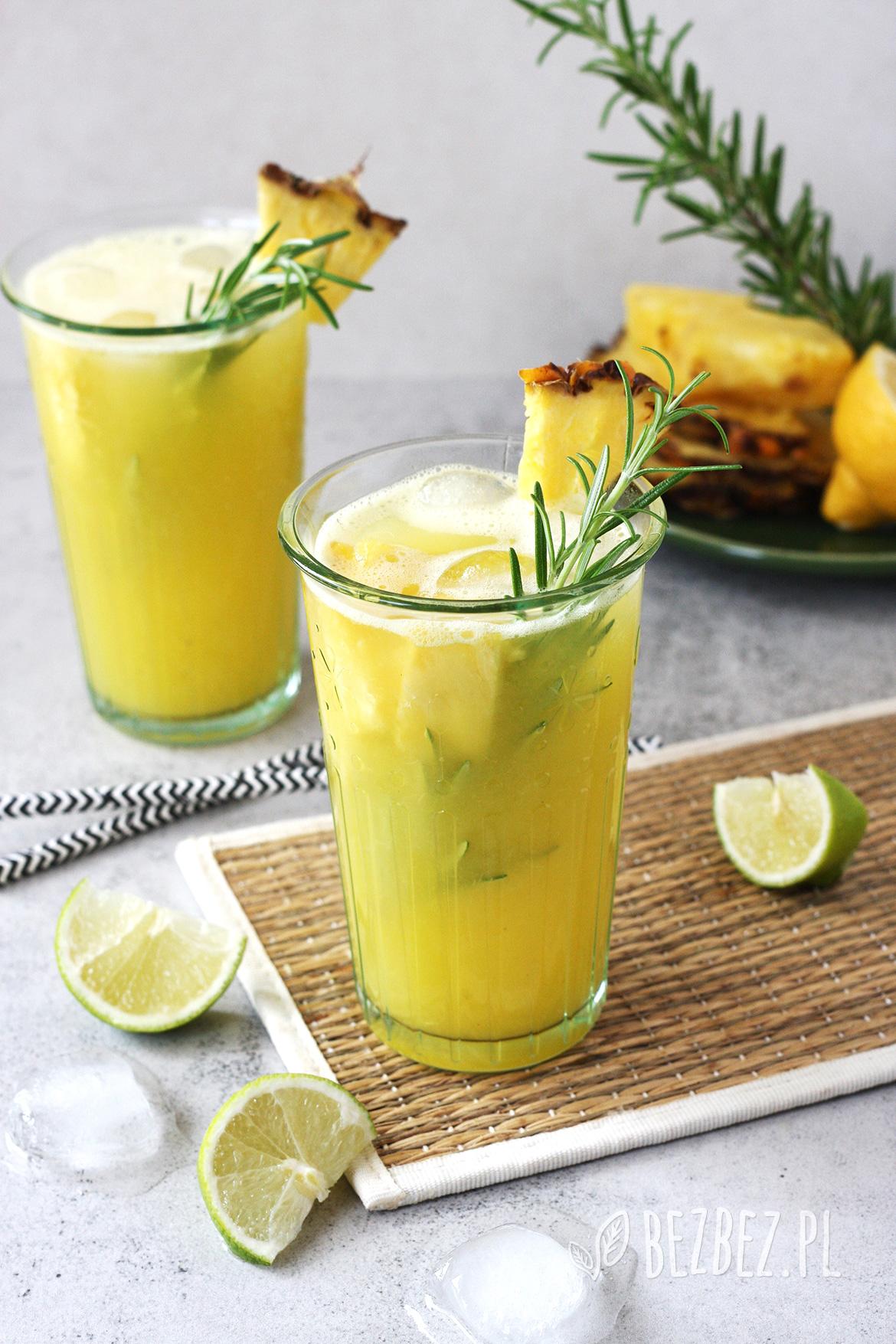 Lemoniada ananasowa z rozmarynem, bez cukru