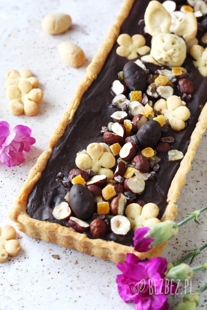 Bezglutenowy mazurek czekoladowo-orzechowy, wegański